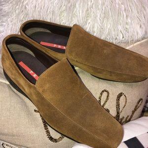 Prada Light Brown Square Toe Loafers 9.5